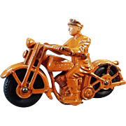 Vintage Cast Iron Motorcycle Toy - Patrol Motorcycle - All Original - Large Size