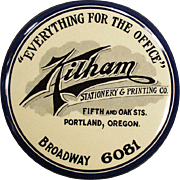 Vintage Celluloid Paperweight  Advertising Mirror - Kilham's of Portland