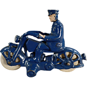 Vintage Cast Iron Motorcycle Cop – A.C. Williams 1930's - All Original