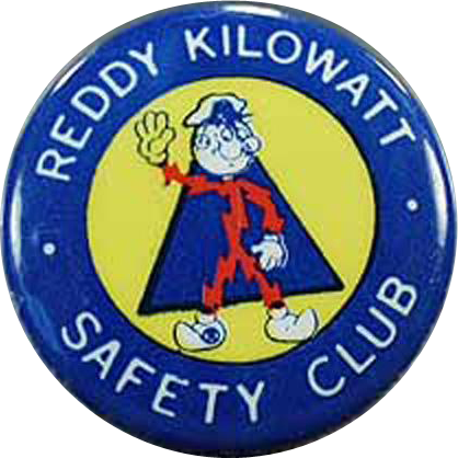 Vintage Reddy Kilowatt Pinback - Safety Club