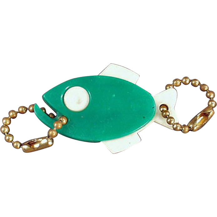 Vintage Figural Key Chain - Green Fish with Advertising
