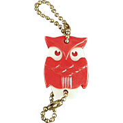 Vintage Figural Key Chain - Red Owl with California Real Estate Advertising