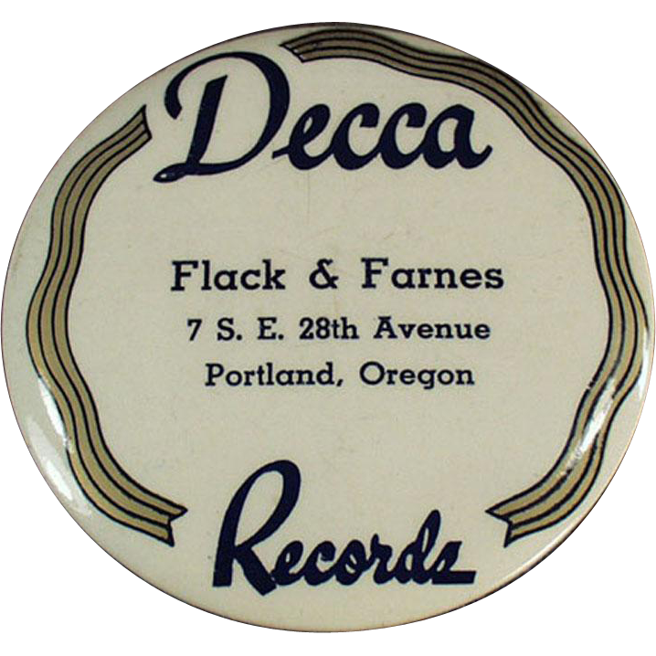 Vintage Celluloid Record Duster - Decca Records - Portland Oregon Advertising