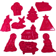 Vintage Holiday Cookie Cutters - Group of Ten including Manger Figures