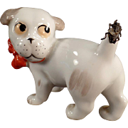 Vintage German Porcelain Novelty - Little Dog with Fly on its Tail