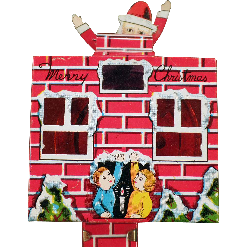Vintage Christmas Friction Toy – Santa in the Chimney