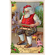 Vintage Christmas Postcard Santa Claus in His Workshop