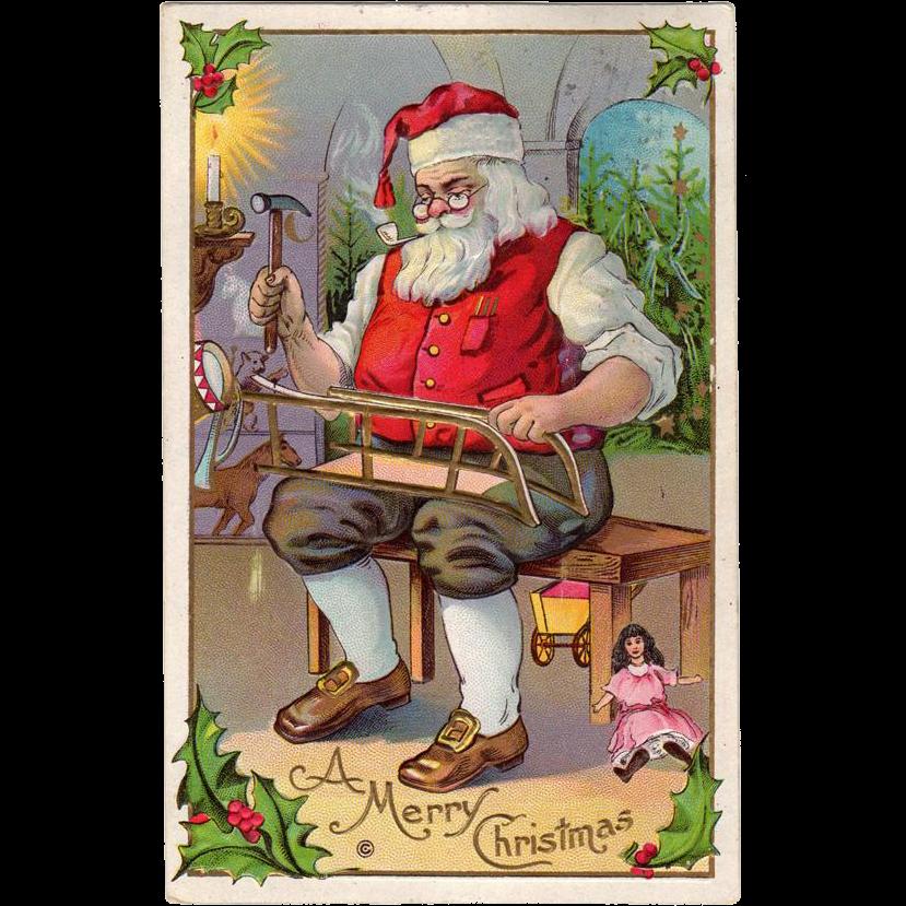 Vintage Christmas Postcard Santa Claus in His Workshop