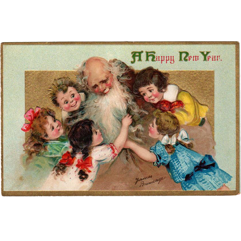 Vintage New Year Postcard with Frances Brundage Children – Beautiful Graphics