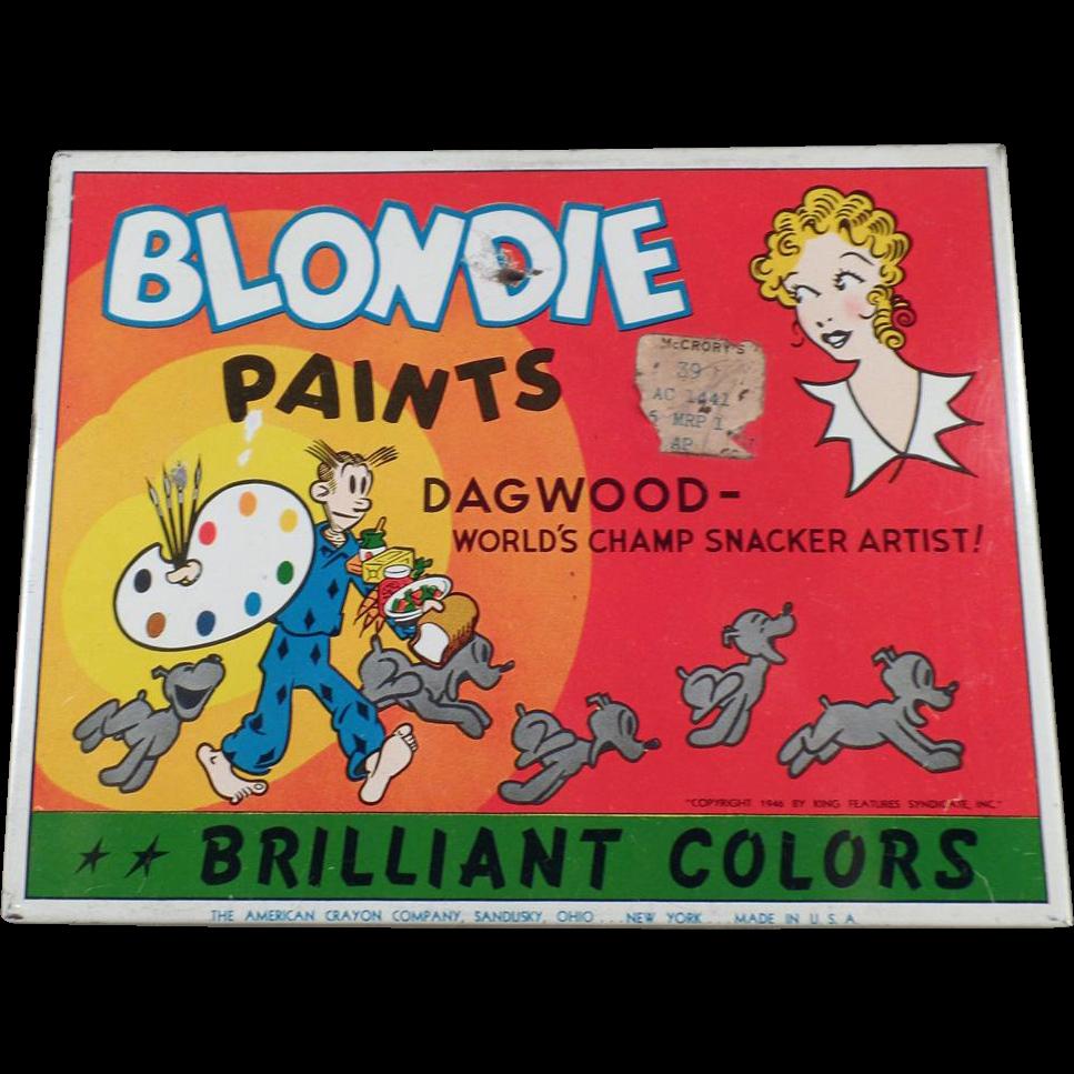 Vintage Blondie & Dagwood Water Color Paint Set Tin