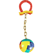 Vintage Dexterity Puzzle Key Chain - Ball with Good Luck Horse Shoe