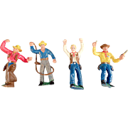 Vintage German Cowboy Action Figures - 4 Pieces