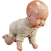 Vintage Celluloid Crawling Baby Doll - Celluloid Wind Up Toy
