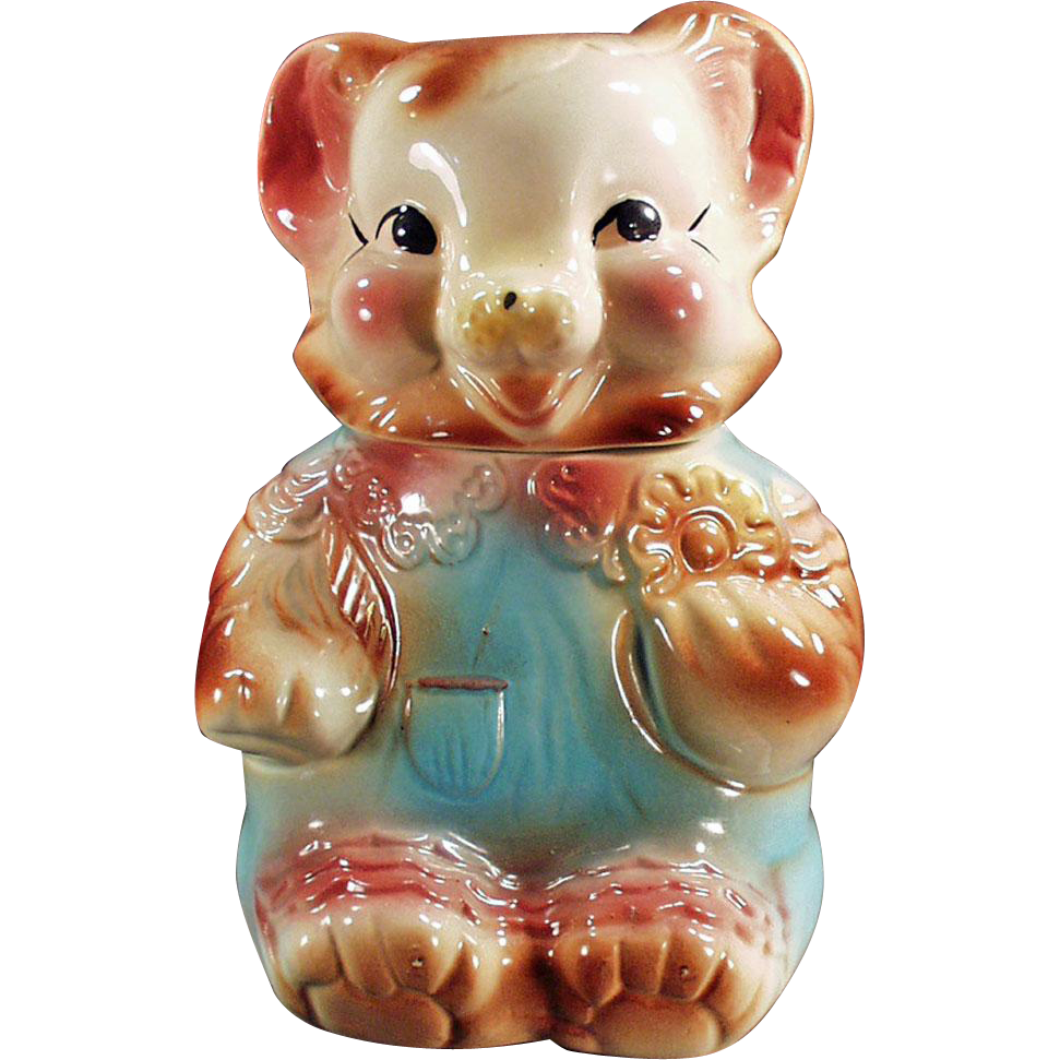 Vintage American Bisque Cookie Jar - Baby Bear in Rompers