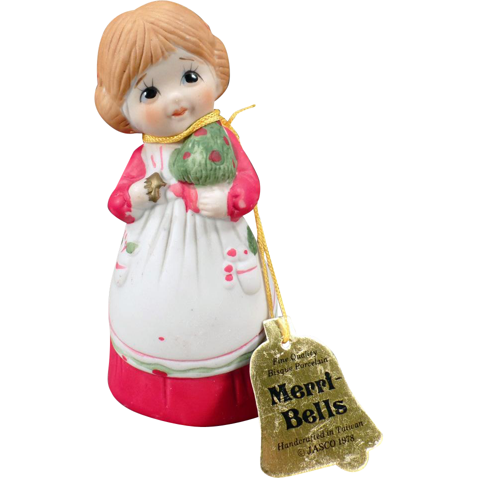 Vintage Merri-Bells Christmas Porcelain Bell with Original Hang Tag – 1978 Jasco