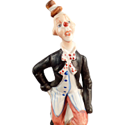 Vintage Porcelain Clown Figurine in Hobo Attire