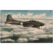 Vintage Postcard with the Boeing Flying Fortress Airplane