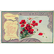 Vintage Postcard - Language of Flowers with Scarlett Poppies