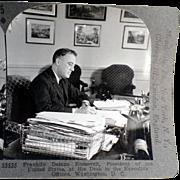 Vintage Stereoscopic Card - President Franklin D. Roosevelt  #33535