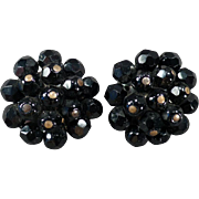 Vintage Costume Jewelry Earrings – Black Bead Laguna Clip-Ons