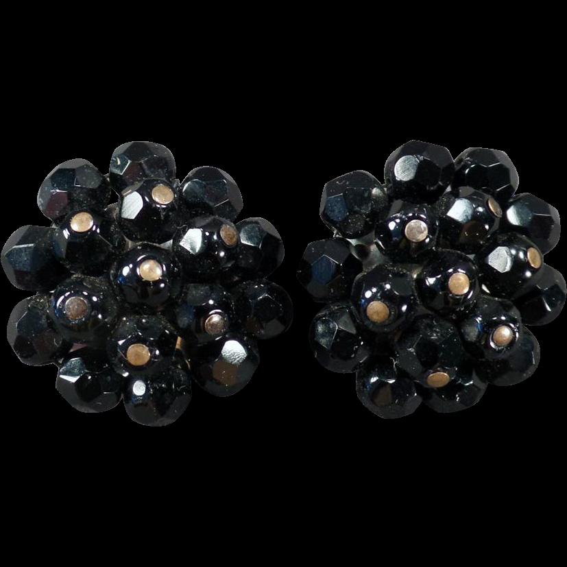 Vintage Costume Jewelry Earrings – Black Bead Laguna Clip-Ons