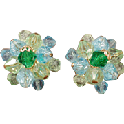 Vintage Costume Jewelry Earrings – Blue and Green Glass Beads - Germany