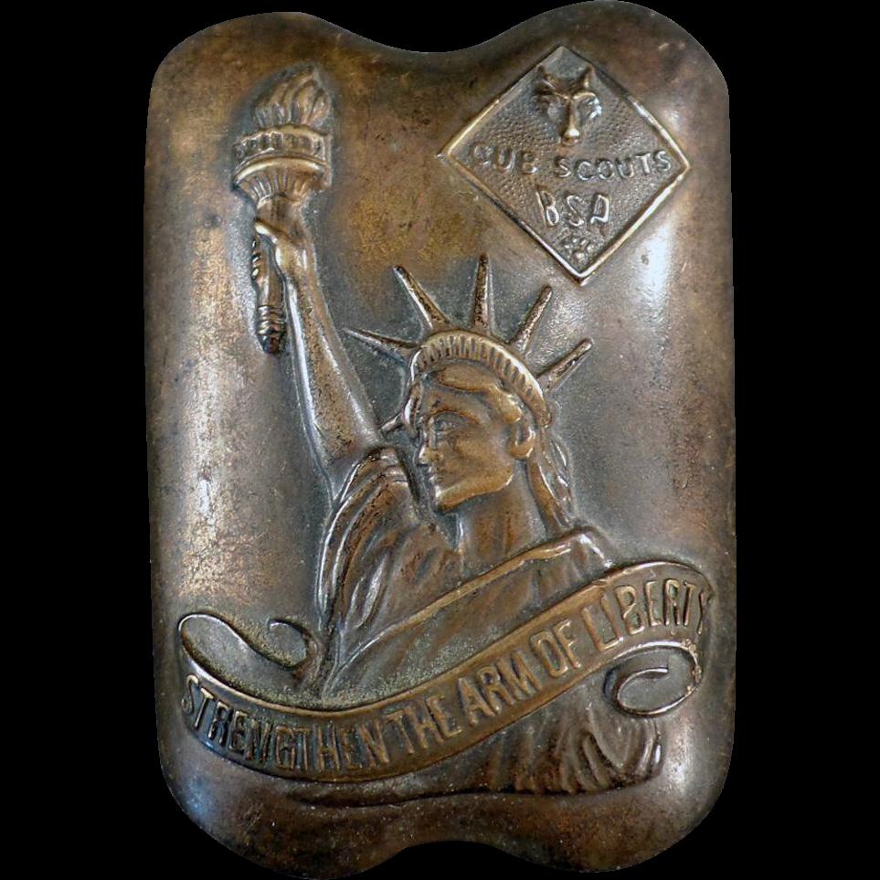 Vintage Cub Scout Neckerchief Slide - Arm of Liberty