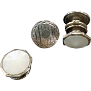 Vintage Cuff Links - Snap Link - Mother of Pearl and Chased Silver Tone