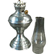 Vintage Miniature Kerosene Oil Lamp with Aluminum Base