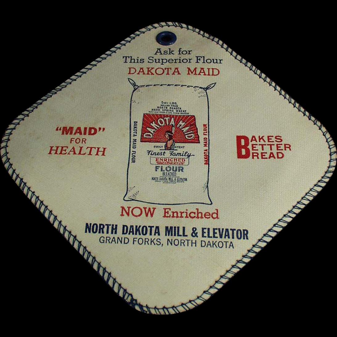 Vintage Advertising Potholder - Dakota Maid Flour- North Dakota Mill and Elevator Co.