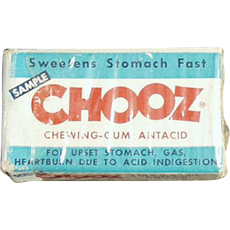 Vintage Chooz Antacid Gum Box - Medical Sample