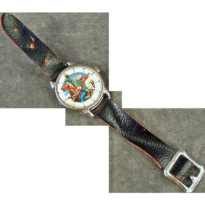 Child's Old Cowboy Wristwatch Toy