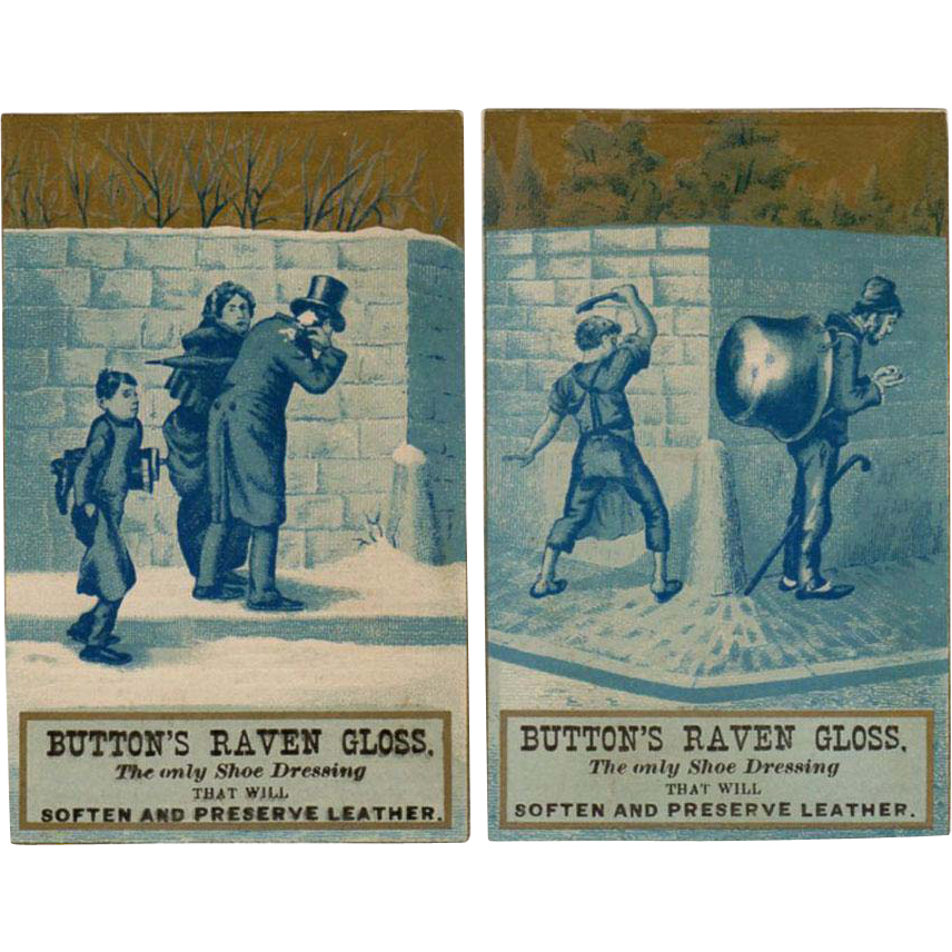 2 Vintage Trade Cards - Button's Raven Gloss - Mischievous Boys