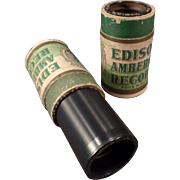 Two Vintage Wax Cylinder Phonograph Records - Edison Amberol