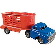 Vintage Toy Truck with Horse Trailer - Japanese Tin Toy