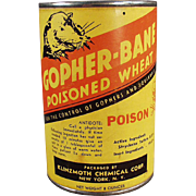 Vintage Gopher Poison Tin - Klinzmoth Gopher Bane Poisoned Wheat