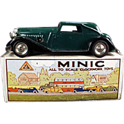 Vintage Tri-ang Minic  - Vauxhall Cabriolet with Box - Wind-Up Tin Car