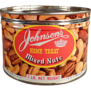 Vintage Nut Tin - Johnson's Home Treat Mixed Nuts Tin