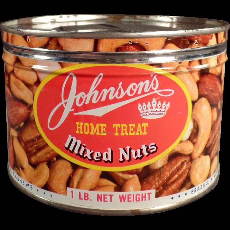 Vintage Nut Tin - Johnson's Home Treat Mixed Nuts Tin