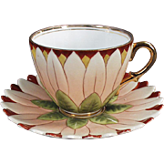 Vintage Cup & Saucer Set - Petaled Flower - German Porcelain