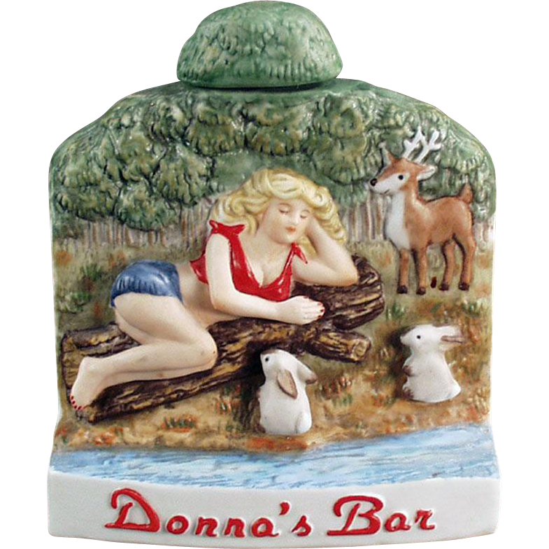 Vintage Souvenir Flask - Donna's Bar - Wells, Nevada - Dug Decanter