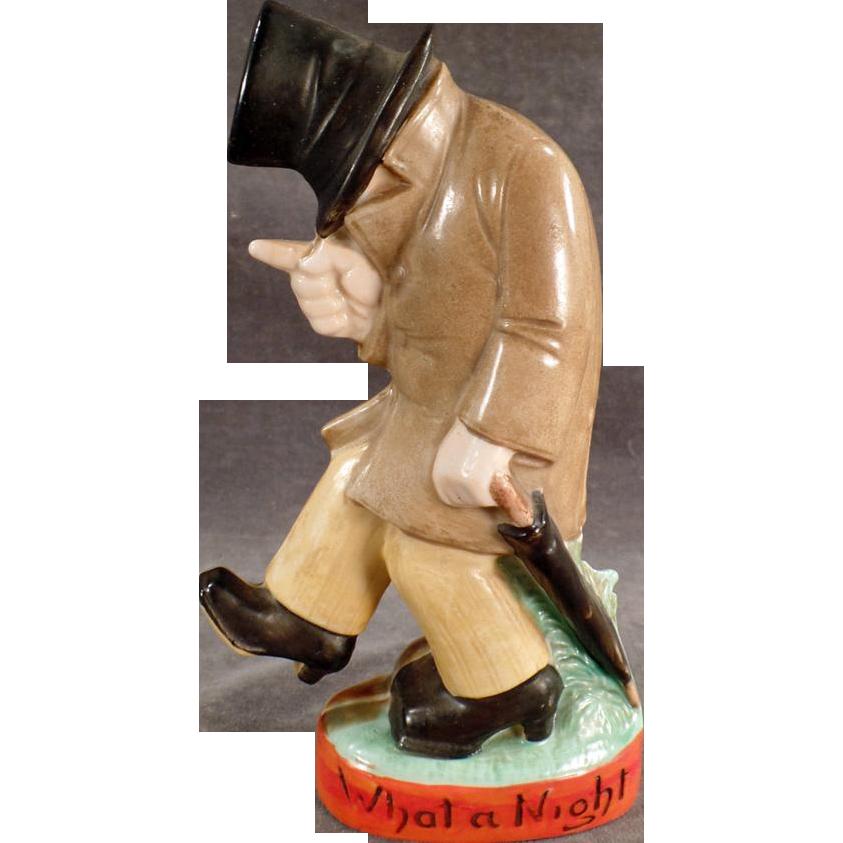 Vintage S & V Figural Flask - What a Night - Drunk