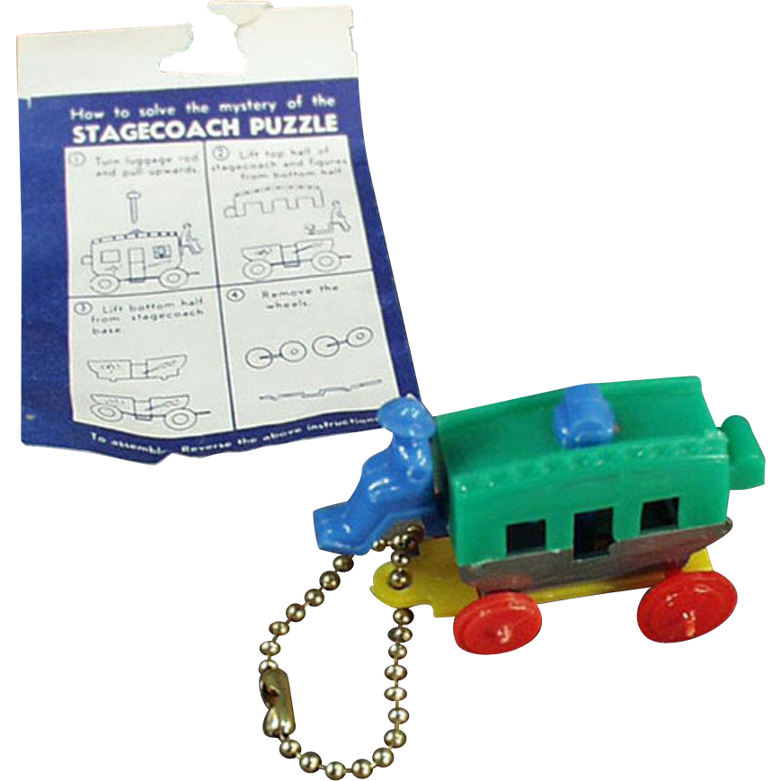 Vintage Puzzle Key Chain - Colorful Plastic Stage Coach with Original Instructions