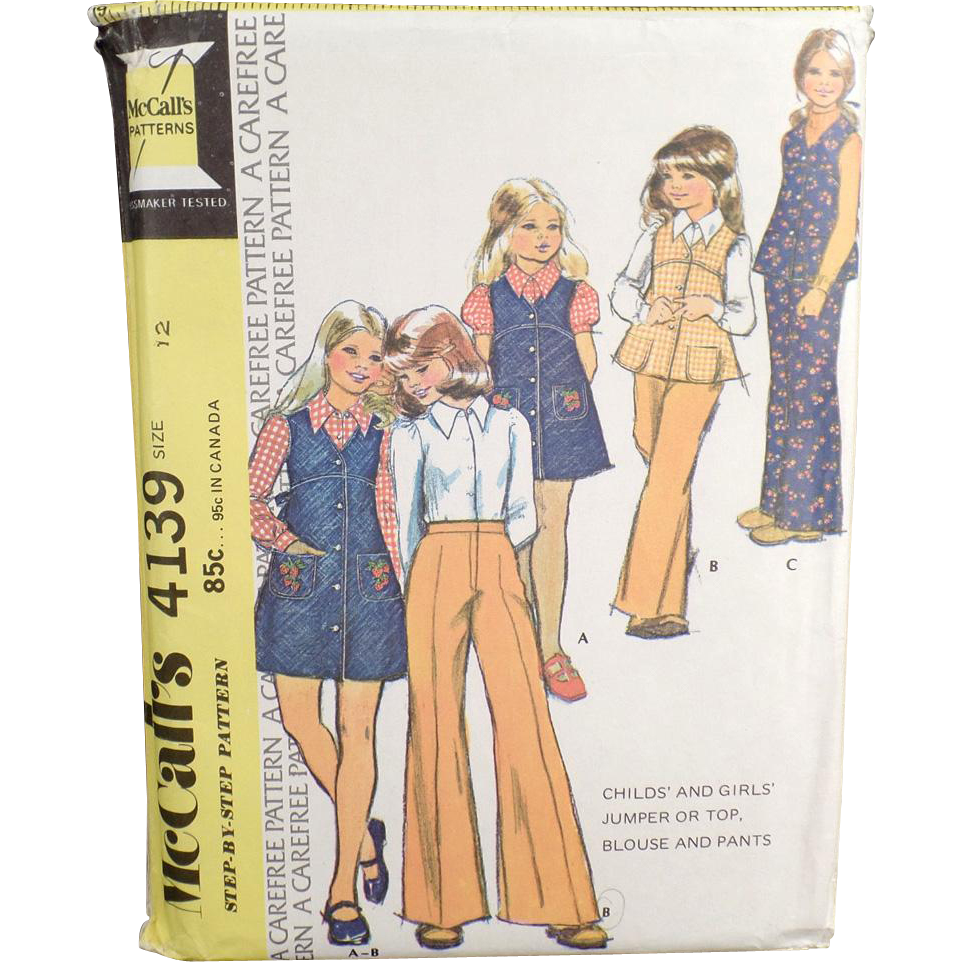 Vintage McCall's Pattern - Children's Fashions #4139 - 1974, Size 12
