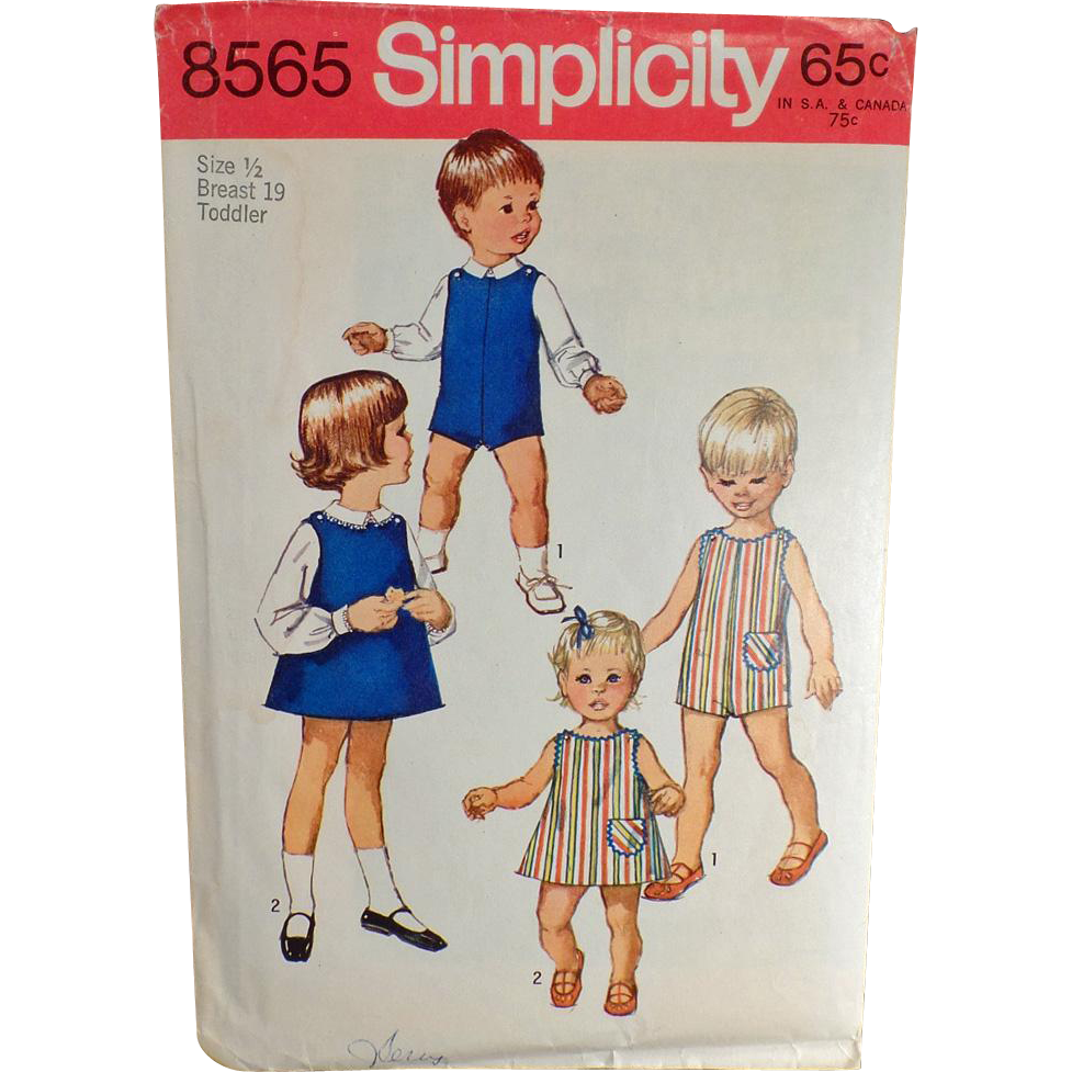 Vintage Simplicity Pattern #8565 - Toddler - Suit, Dress or Jumper & Blouses - 1969