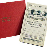 Vintage Ration Book for Ice plus an Old Holder for Ration Books - Weiser Idaho