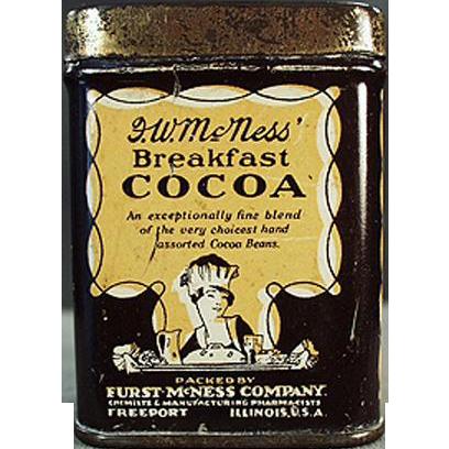 Vintage Sample Cocoa Tin - Mc Ness Cocoa - Old Advertising Sample Tin