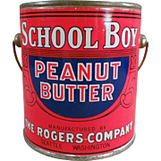 Vintage Peanut Butter Tin - School Boy Peanut Butter 1# Pail