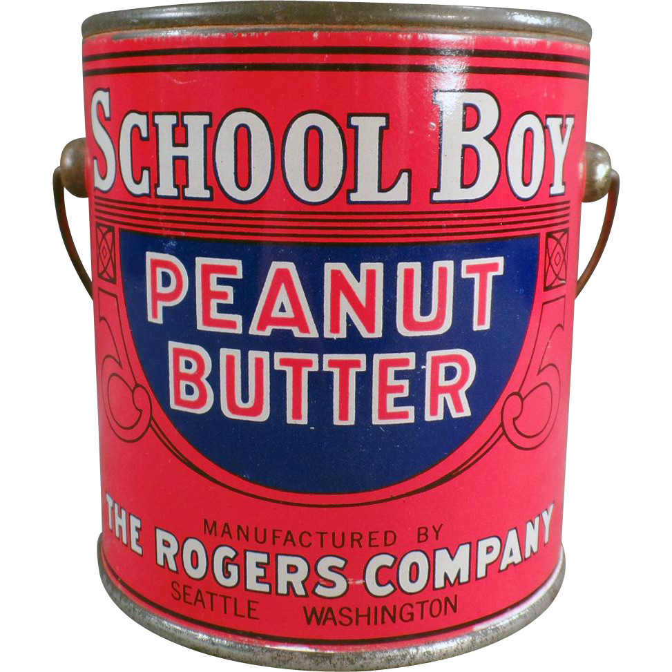 Vintage Peanut Butter Tin - School Boy Peanut Butter 1# Pail