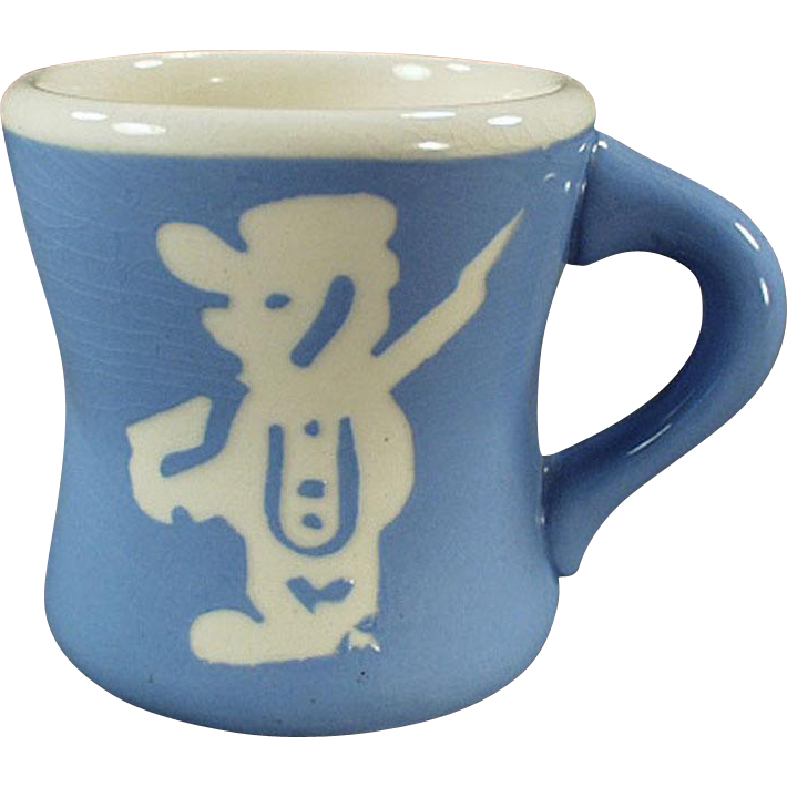 Child's Vintage Milk Cup - Blue Cameoware - Harker Pottery Co.